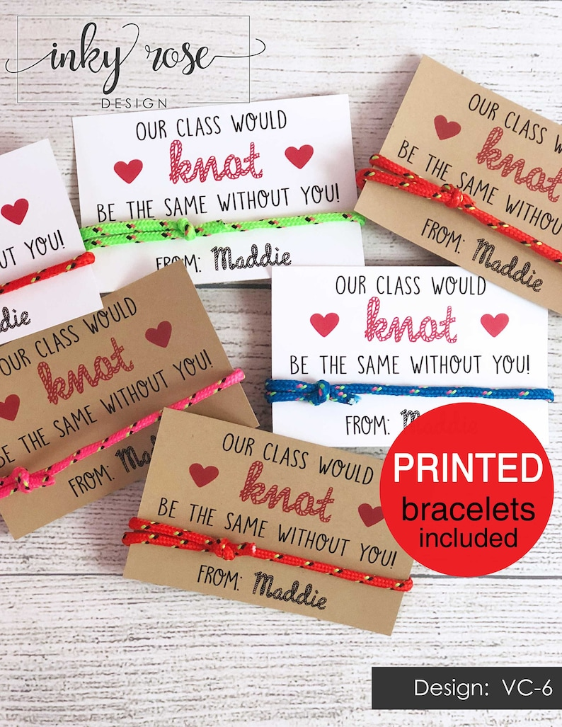 Knot Valentines PRINTED Friendship Bracelet Valentine's image 0