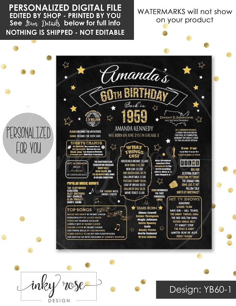60th Birthday Party Decorations PRINTABLE Sign