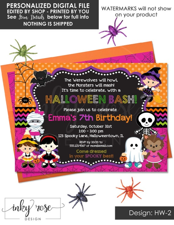 Halloween Birthday Party Invitation Kids PRINTABLE Digital