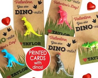Dinosaur Valentine Cards, PRINTED Dino-mite Valentines for Boys Kids, Classroom Valentine's Day Card Toy Class School Non Candy Dinomite