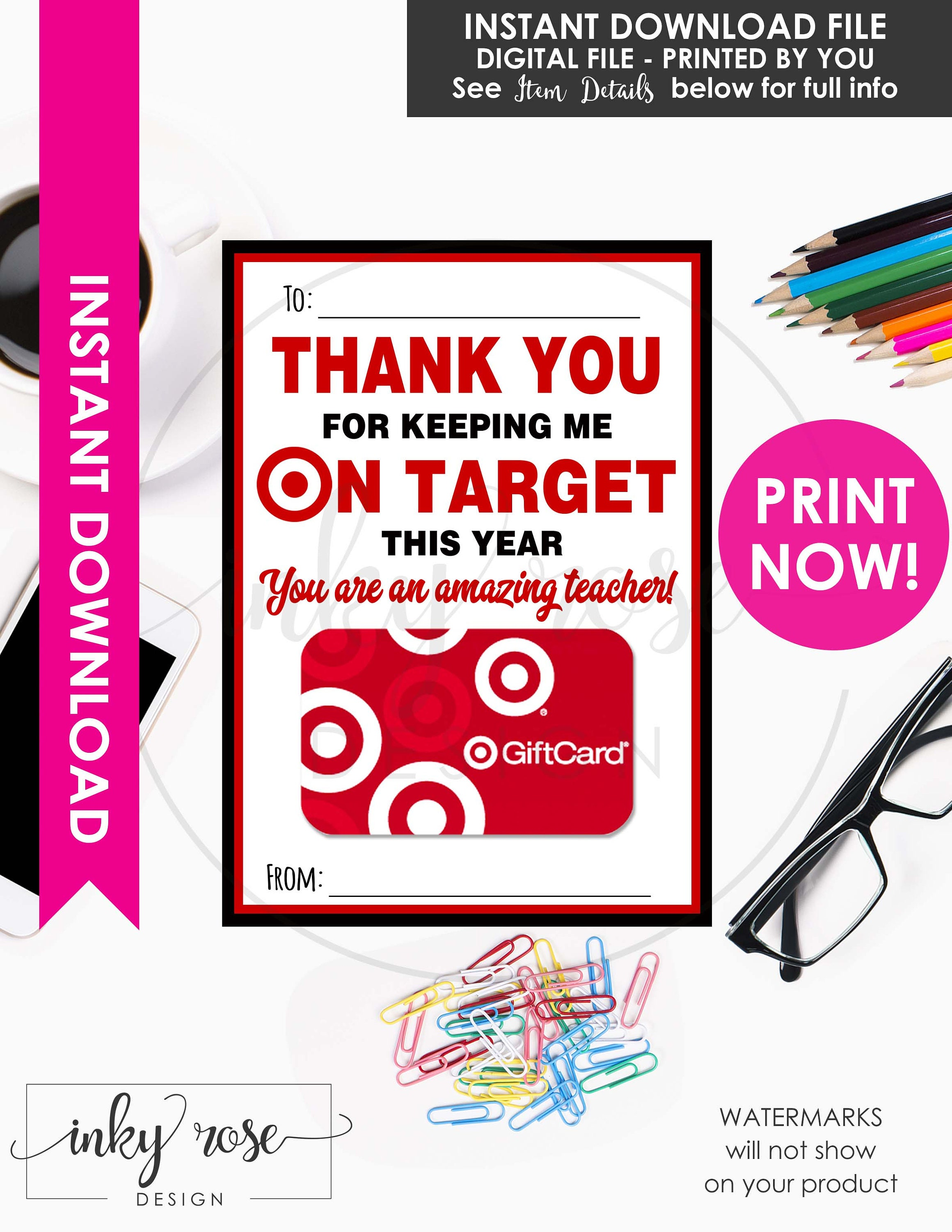 photograph about Printable Target Gift Card named Emphasis Present Card Printable Prompt Obtain, Instructor Appreciation Present Card Holder, Thank On your own For Trying to keep Me Upon Aim, Trainer Present 7 days