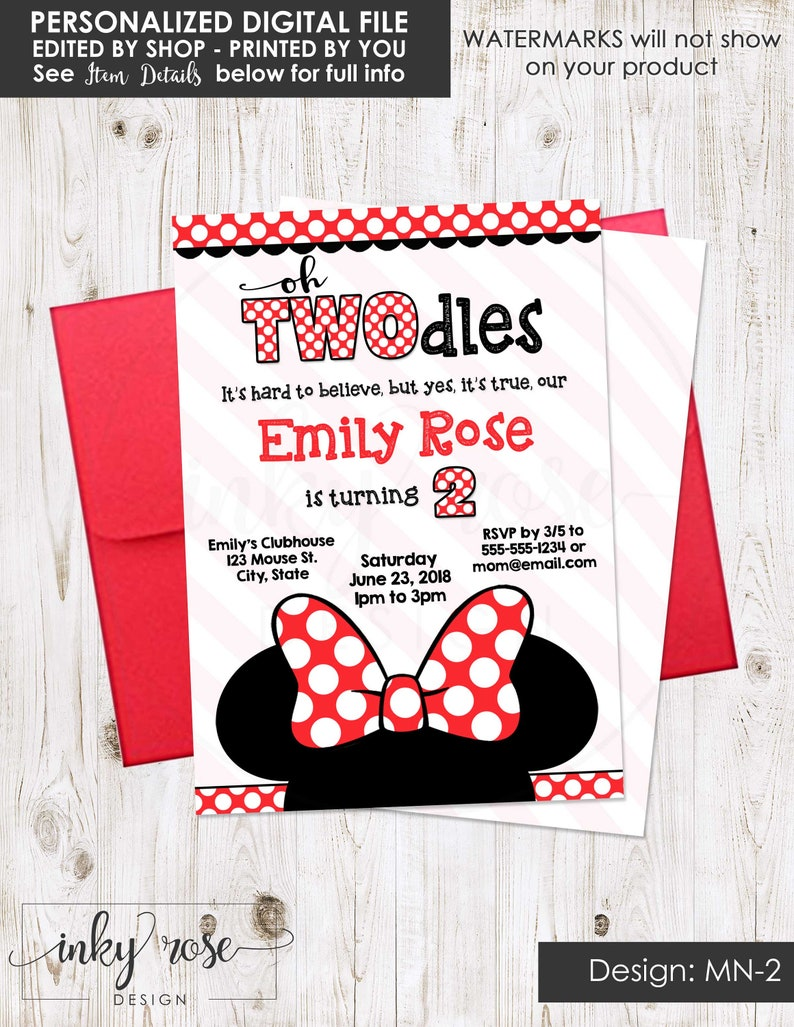 Minnie Mouse Invitation 2nd Birthday Red And Black PRINTABLE