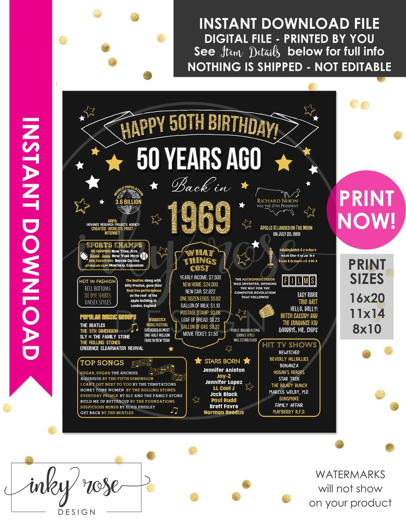 50th Birthday INSTANT DOWNLOAD Poster 1969 Sign