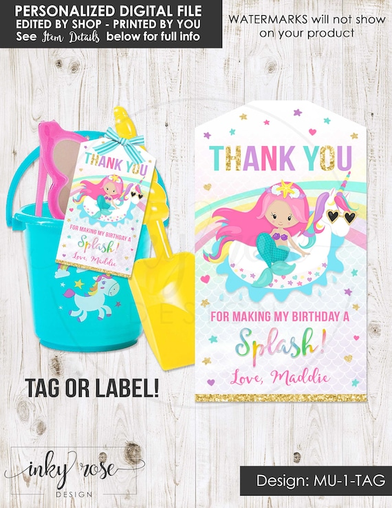 5 x Girls Party Bag Thank You Personalised Card Necklace Unicorn or Mermaid