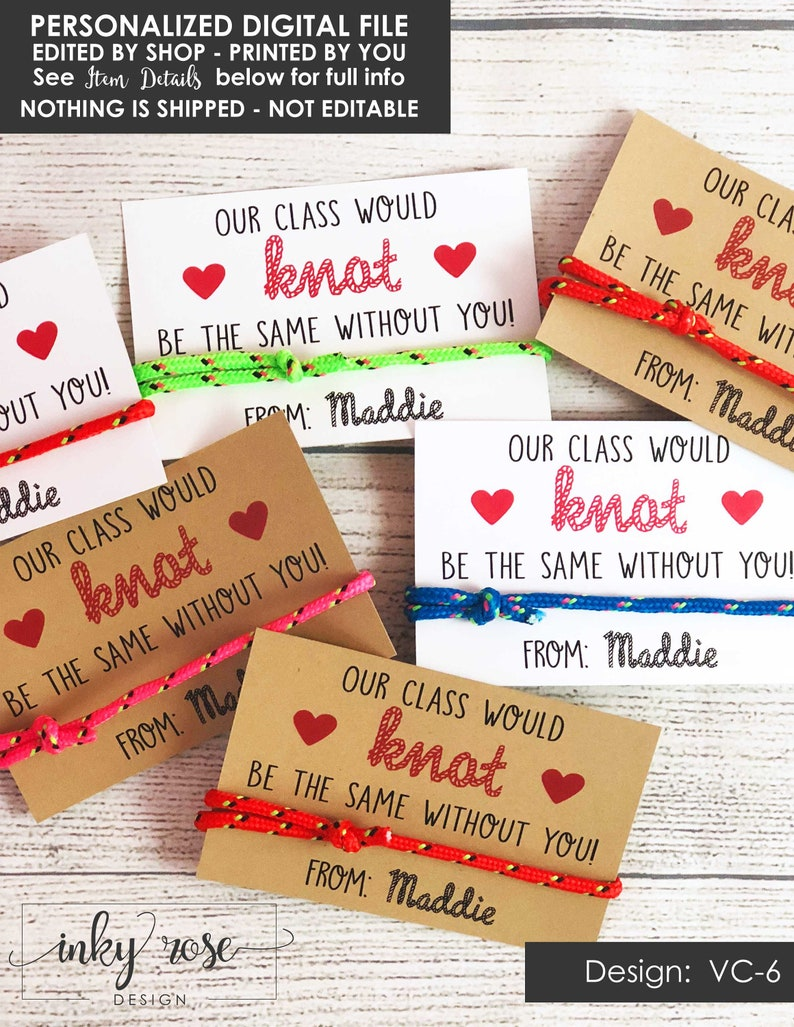 photograph relating to Printable Teacher Valentine Cards Free identify Knot Valentine Playing cards PRINTABLE Friendship Bracelet Valentines Working day Card for Small children Instructor Valentine Clroom University Non Sweet Cost-free for Women