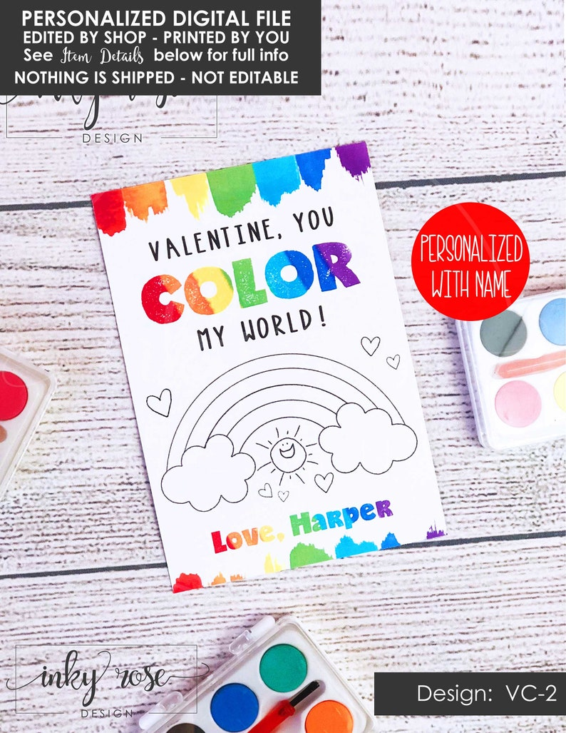 photo relating to Printable Teacher Valentine Cards Free called Valentine Playing cards for Small children PRINTABLE, Shade My Entire world Valentines, Valentines Card for Watercolor Paint, Non Sweet No cost Cl Clroom Trainer