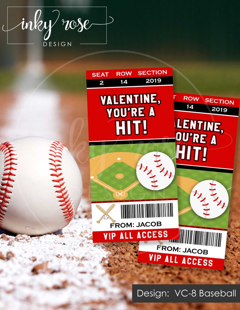Baseball Valentine Cards Personalized Kids Valentines Day Card Printable Baseball Ticket Valentines Cards Sports Classroom School Boys