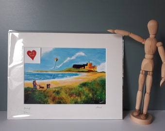 """Mounted A4 print of """"Bamburgh"""" painted in Acrylics, beach scene, castle, Northumberland"""