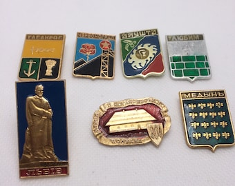 Ww2 Battle Of Stalingrad Kyiv Sevastopol Wwii Soviet Russian Pin Badge Set Of 9 Militaria