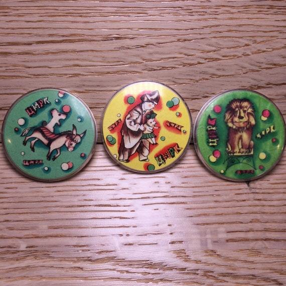 Сlown badge, Vintage Badge, set of 3, soviet circu