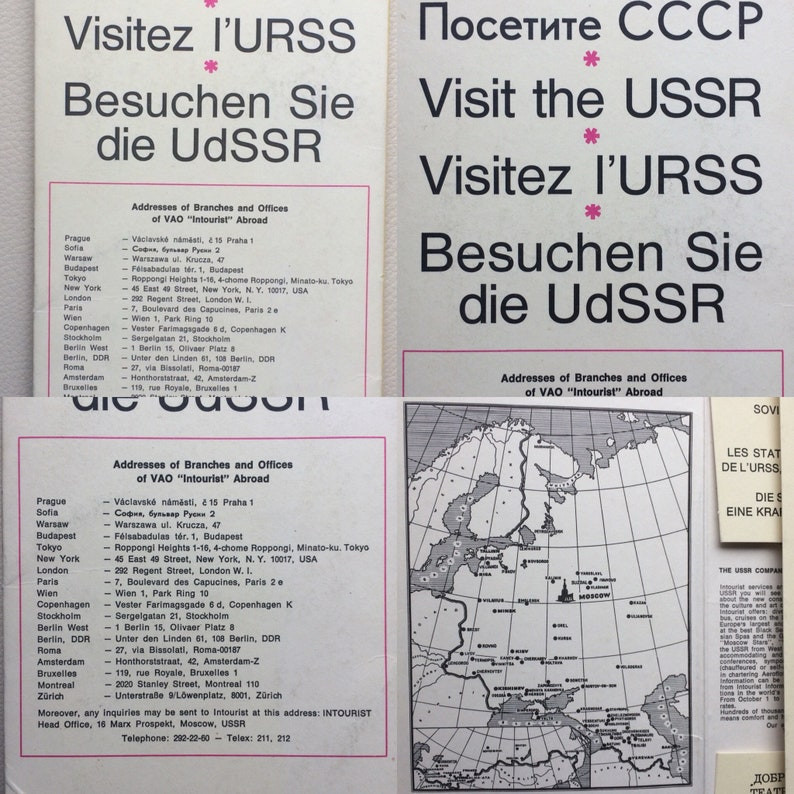 1972 set from 15 items Inturist Postcards and posters VISIT THE USSR
