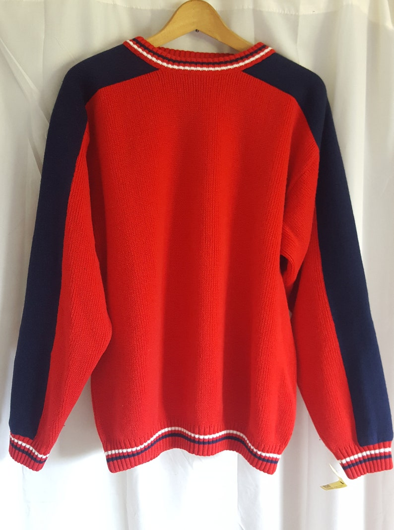ddb1a3781932 Men s Large Olde English Lane Red and Navy Acrylic Sweater