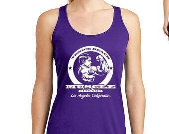 cc19a239 Venice Beach Muscle Beach Arnold Schwarzenegger Gym Shirts Women Workout  Tank Top, Workout Shirts for Women Muscle Tee Bodybuilding Tank Top
