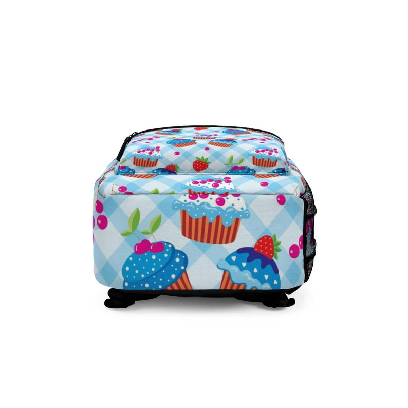 Blue Cupcake Design Backpack School Bag Fun and Unique Backpack Made in USA