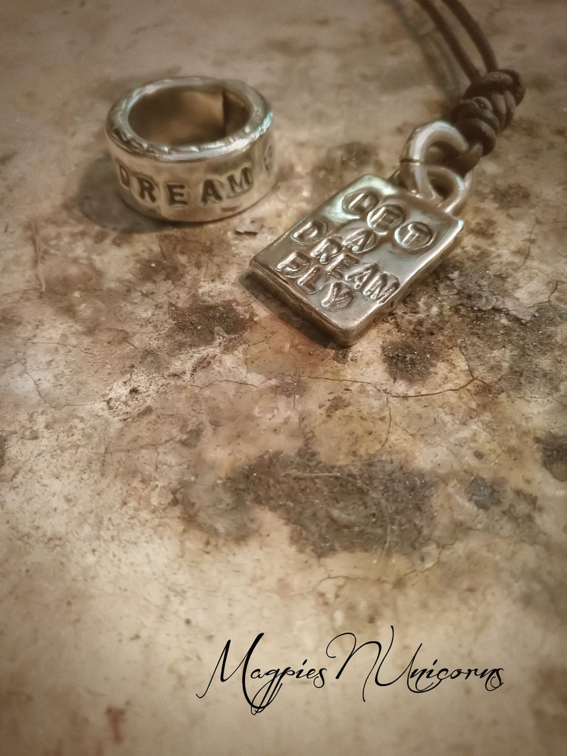 Handcrafted Let A Dream Fly Motivational Talisman Pendant Tribal Style Handmade Pendant Boho Beach style Sterling Silver Amulet