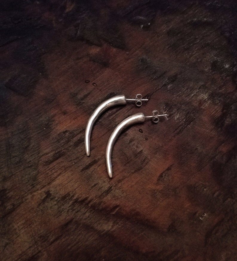 Sterling Silver Eclectic Tribal Elements Long Curved Tusk Earrings
