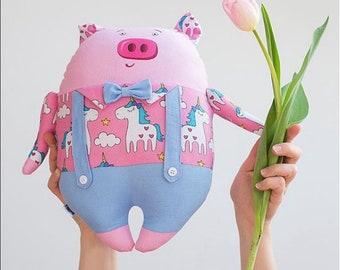 Unicorn Pig Plush Etsy