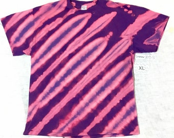 XL purple tee with discharged diagonal  stripes