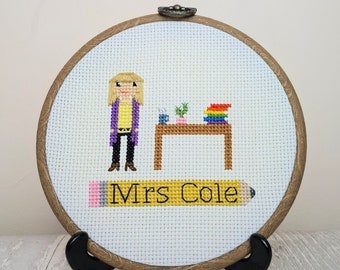 Teacher Thank You/Appreciation Gift   Custom Cross-stitch Portrait   Personalised   Embroidery Hoop Gift for Teacher   COVID-19 Gift  
