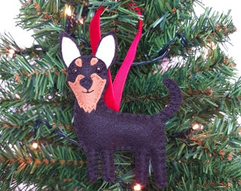 Chihuahua Christmas tree decoration   Chihuahua hanging ornament   Personalised felt dog   Custom dog gift   Crazy Dog owner/lover