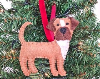 Boxer Christmas tree decoration   Boxer dog hanging ornament   Personalised felt dog   Custom dog gift   Crazy Dog owner/lover gift