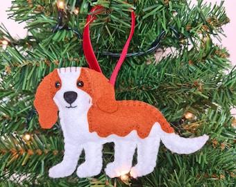 Cavalier King Charles Spaniel Christmas tree decoration   Hanging ornament   Personalised felt dog   Custom dog gift   Crazy Dog owner/lover