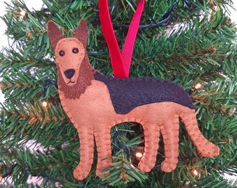 German Shepherd Christmas tree decoration   Alsatian hanging ornament   Personalised felt dog   Custom dog gift   Crazy Dog owner/lover gift