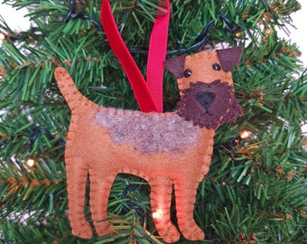 Border Terrier Christmas tree decoration   Border Terrier hanging ornament   Personalised felt dog   Custom dog gift   Crazy Dog owner  