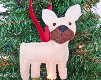 French Bulldog Christmas tree decoration   Frenchie hanging ornament   Personalised felt dog   Custom dog gift   Crazy Dog owner/lover