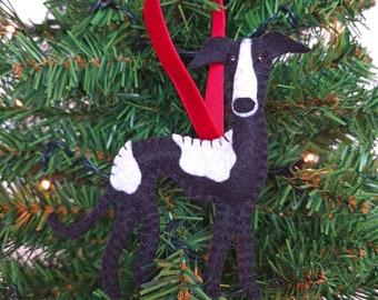 Greyhound/Whippet/Italian Christmas tree decoration   Hanging ornament   Personalised felt dog   Custom dog gift   Crazy Dog owner/lover