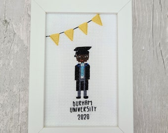 Graduation Cross-stitch Portrait Gift   Custom Portrait   Personalised   Embroidery Gift for University Graduate   Congratulations Graduate