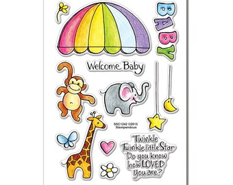 Stampendous PYL Clear Stamps Set - Animal Mobile- Clear stamps/Baby/Coloring Stamps/Happy Mails/cardmaker