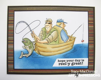 Art Impressions Clear Stamps Set - Reel Great Guys Set 4900 - Clear stamps/Fishing/Coloring Stamps/Happy Mails/cardmaker