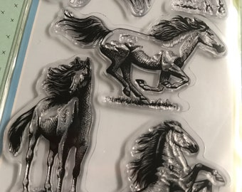 "Inkadinkado Clear Stamps Set - Horses - 4""x8"" Clear stamps/Handsome/Coloring Stamps/Happy Mails/cardmaker"