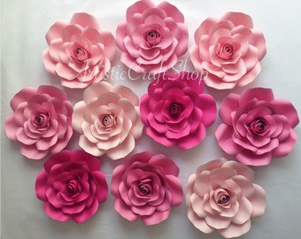 Paper flower wall etsy 10pc paper flowers set pink paper flower backdrop small paper flowers wall decor baby shower decor paper roses nursery decor mightylinksfo