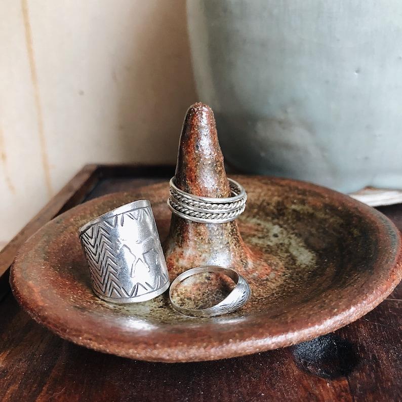 Wabi sabi brown and green tie dyed ring holder rustic bohemian pottery jewelry storage tree dish woman run business minnesota handmade