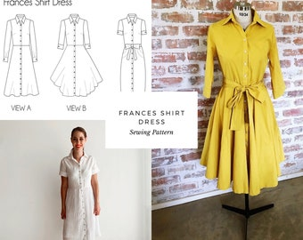 Frances Shirt Dress PDF Letter A4 Sewing Pattern