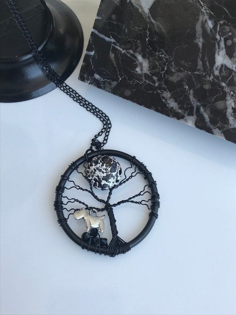 Tree Of Life Necklace Handmade Necklace Moon and Dog Necklace Wire Wrapped