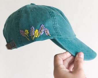 487bc0ee875b2 Hand Embroidered Hat - custom embroidered hat - floral embroidered hat -  festival hat - embroidered baseball cap - washed denim hat