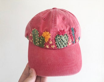 9f575f4e555 Hand Embroidered Hat - embroidered cactus hat - floral embroidered hat -  festival hat - embroidered baseball cap - washed denim hat