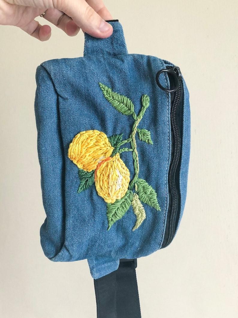 Lemon Plant waist pack small purse travel bag waist bag lemon embroidery embroidered bag fanny pack