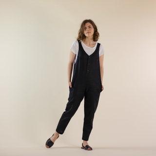 Summer Jumpsuit  Linen Jumpsuit   Oversize  Overall women  Jumpsuit Women  Linen Overall  Yellow  Jumpsuit  Kyanefamily