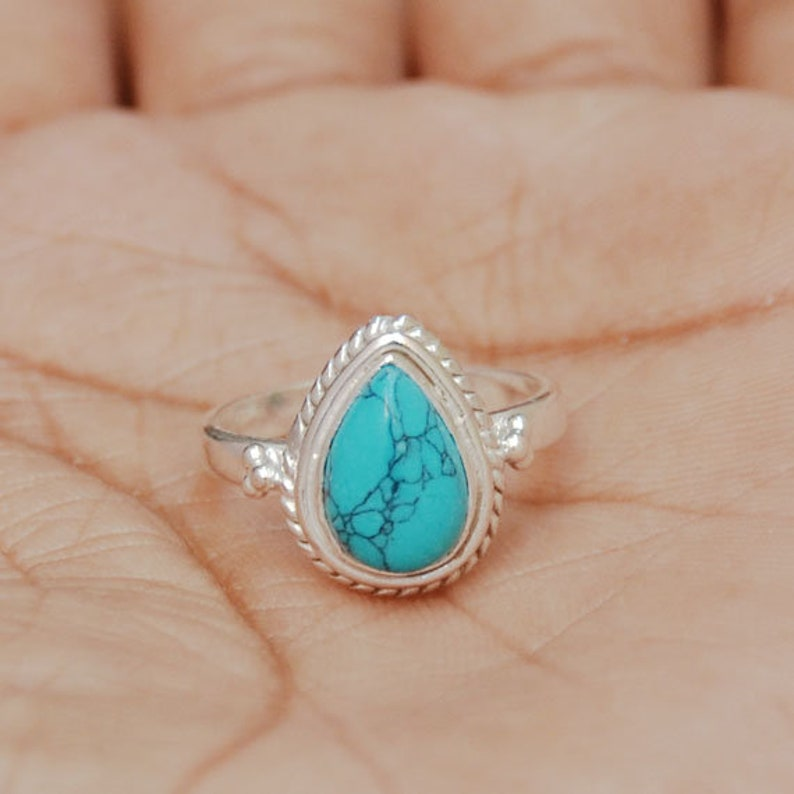 Engagement Ring Wedding Gift Sale Stunning Natural TURQUOISE Gemstone Ring All Size Available, Turquoise Ring 925 Sterling Silver Ring