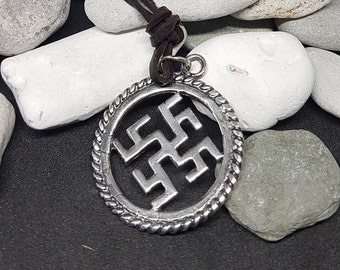 Thunderstrom silver Pendant, Slavic Sun Symbol, svarog, talisman, sign, amulet, sterling silver 925, medival