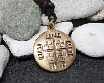 Hands of God bronze Pendant, Slavic Symbol, svarog, talisman, sign, amulet, bronze, iron age