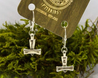 Silver Thor Hammer's Earrings, Laby, Sweden, viking, pagan, mjolnir, replica