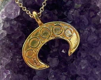 Small Lunula pendant rus gilded replica, Viking Reenactment, SCA, LARP