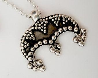 Lunula Moon Pendant - sterling silver replica from Great Moravia, Mikulcice