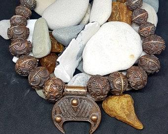 Bronze LUNULA LUTNITSA necklace, replica from Gnezdovo X c.