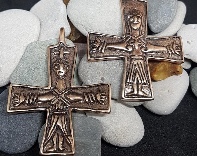Bronze VIKING CROSS Jesus & Maria, replica from Finland